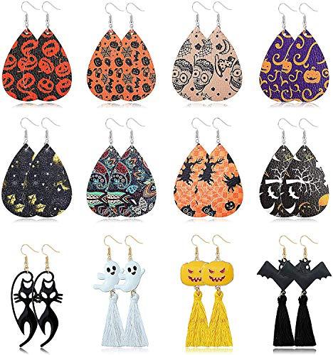 YADOCA 12 Paar Halloween Ohrringe für Frauen Kürbis Fledermaus Geister Schwarze katze Halloween Thema Ohrringe Set Halloween Partydekorationen Halloween Kostüme