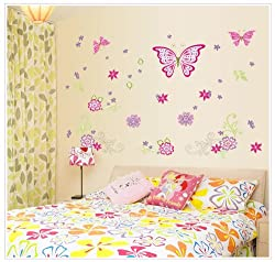 Pink Butterflies with Flowers and Petals Peel & Stick Wall Decals