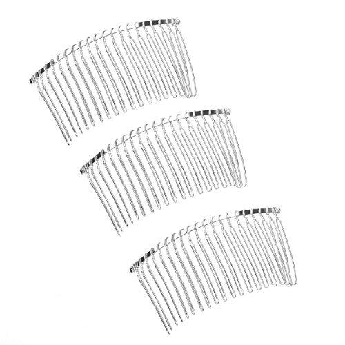 (3 PCS) - TinkSky 3pcs 7.8cm 20 Teeth Fancy DIY Metal Wire Hair Clip Combs Bridal Wedding Veil Combs (Silver)
