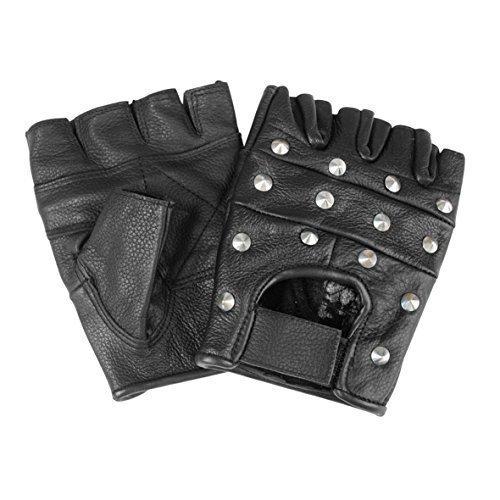 Kostüm Rocker Gothic - Mil-Tec Biker Fingerlinge Leder m.Nieten Gr.XL