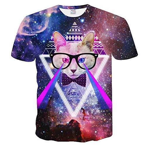 XJWDTX Lässiges 3D-Star-Brillen-Kurzarm-T-Shirt Für Herren Mit Katzenmuster