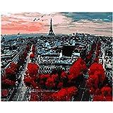 DIY Peinture Par Numéros À La Recherche Dans Le Paysage Parisien,Toile De Mariage,Décoration D'Art,Cadeau Photo,Avec Cadre,40X50cm...