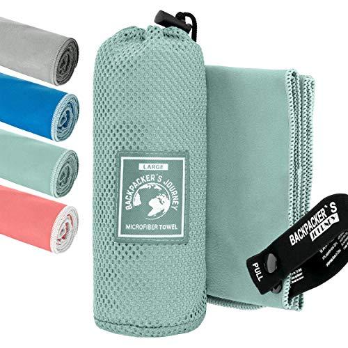 Backpacker's Journey Mikrofaser Handtücher in S M L XL. Reisehandtuch Sets leicht, schnelltrocknend, saugfähig und antibakteriell (türkis M)