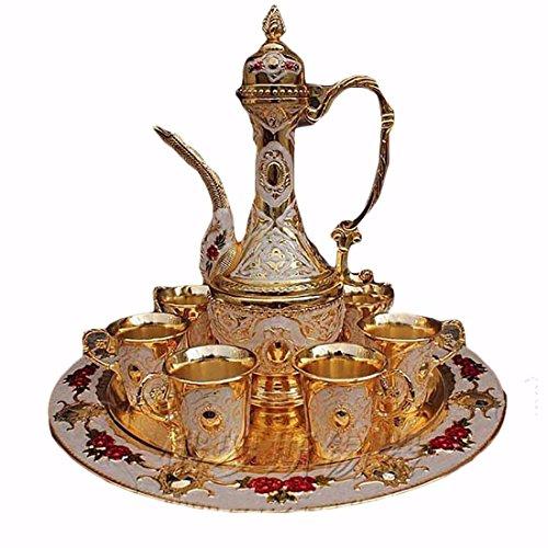 Vintage russische Retro Dekoration Russland Tee oder Wein-Set Tasse und Teekanne Goldener Luxus