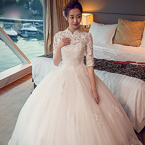 in der Hülse Hochzeit Frühling koreanische Qi Slim schwangere Frauen war dünn Blumen Brautkleid Braut,Weiß,L XX (Genial Kostüme Für Frauen)