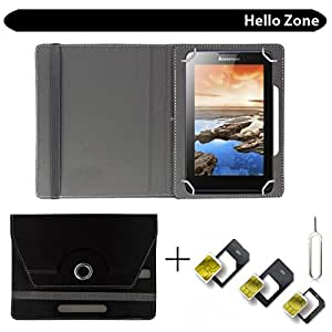 "Hello Zone With Free Sim Adapter Kit Datawind UbiSlate 7CZTablet 360° Rotating 7"" Inch Flip Case Cover Book Cover -Black"