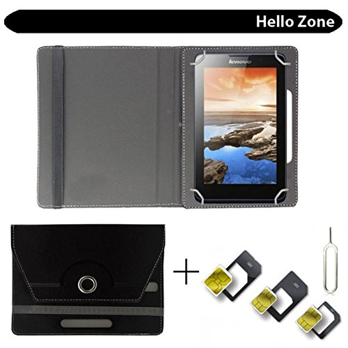 "Hello Zone With Free Sim Adapter Kit Bsnl Penta WS707C EDGE CALLING TABLET 360° Rotating 7"" Inch Flip Case Cover Book Cover -Black  available at amazon for Rs.239"