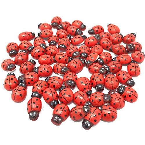 Wedding Touches Rote Mini 9 x 12 mm Selbstklebende Holz-Dekoration Marienkäfer Marienkäfer zum Basteln von Karten, Holz, Holz, rot, 9x12mm