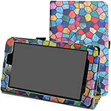 """vodafone smart tab mini 7 / ALCATEL pixi 4 7 Funda,Mama Mouth Slim PU Cuero Con Soporte Funda Caso Case para 7"""" vodafone smart tab mini 7 / ALCATEL pixi 4 7 Android Tablet 2016,Stained Glass"""