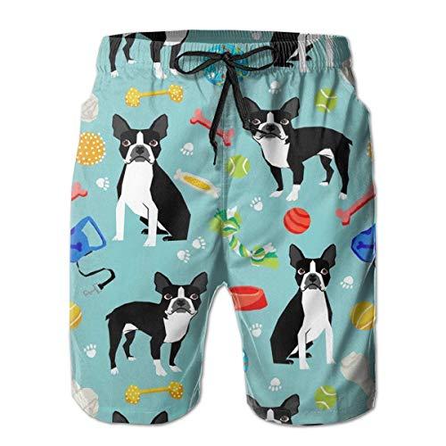Herren Badehose Sommer Cool Boston Terrier Spielzeug Hund Quick Dry Board Shorts Badeanzug mit Seitentaschen Mesh Futter L (Cool Hund Spielzeug)
