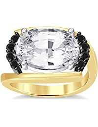 Silvernshine 4Ct Oval & Round Cut Sim Black Diamonds 18K Yellow Gold Plated Engagement Ring