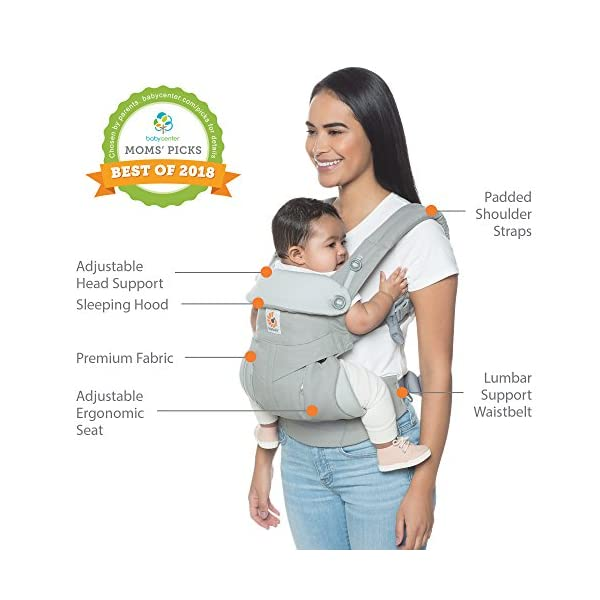 Ergobaby Baby Carrier up to 3 Years (12-45 lbs) 360 Downtown Design, 4 Ergonomic Carry Positions, Front Facing Baby Carrier, Child Carrier Backpack Ergobaby Ergonomic baby carrier with 4 ergonomic carry positions: front-inward, back, hip, and front-outward. The carrier is suitable for babies and toddlers weighing 5.5-20 kg (12-45 lbs), and can be used as a back carrier. Also with insert for newborn babies weighing 3.2-5.5 kg (7-12 lbs), sold separately. NEW - The waistbelt with lumbar support can be worn a little higher or lower to support the lower back and provide optimal comfort, and has adjustable padded shoulder straps. The carrier is suitable for men and women. Maximum baby comfort - The structured bucket seat supports the correct frog-leg position for the baby. The carrier also has a padded, foldable head and neck support. Ergobaby carriers are a new take on the usual baby sling. 5