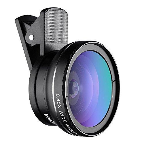 Syliver Universal 2 in 1 Kamera Objektiv Kit Wechselrahmen Makro-Objektiv 12,5 x + Weitwinkel lens0.45 X für für iPhone 7, iPhone 6S/6S Plus, iPhone 6/6 Plus, iPhone 5/SE/5S, Samsung, HTC und alle Smartphones schwarz