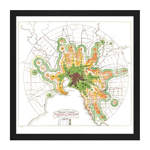 Map Transport Mmtb 1922 Melbourne Trains Trams Replica Square Wooden Framed Wall Art Print Picture 16X16 Inch Karte Zug Holz Wand Bild