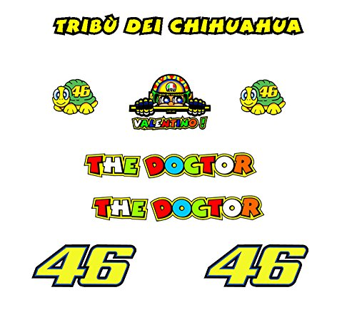 Ecoshirt QI-5VYV-19YD Stickers Tribu Chihuahua Rossi Vr46 R328 Autocollants Autocollants, Jaune
