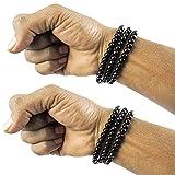 eshoppee black round beaded multi layer bracelet wrist band set of 2 pcs for man and women