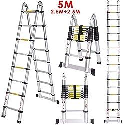 Meditool Échelle Télescopique Portable et Pliante 5M (2,5M + 2,5M), Échelle Escamotable En Aluminium 16 Echelons, 150 kg