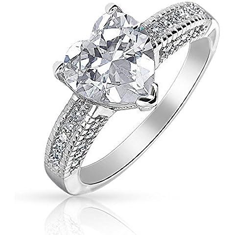 Bling Jewelry Sterling Cuore d'argento a forma di CZ anello di fidanzamento