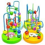 hibote bebé colorido niños de madera mini alrededor de bolas juguete educativo grano rodillo montaña rusa regalo laberinto de alambre aprendizaje juego de jugar juguetes niños al azar color