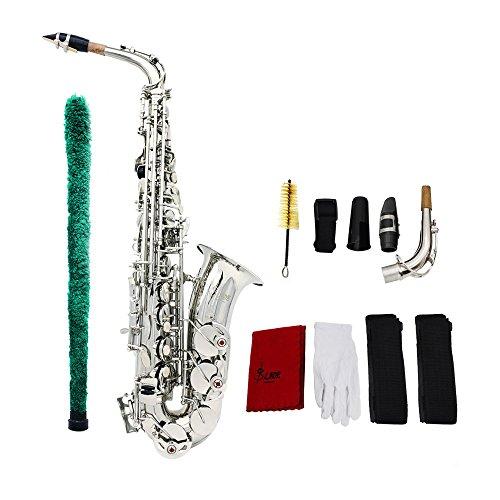 ammoon Andoer® Saxophon Sax Eb Be Alto E Wohnung Messing geschnitzte Muster auf Oberfläche Kunststoff-Mundstück Exquisite mit Handschuhen Reinigungstuch Pinsel Straps (Saxophon Wohnungen)