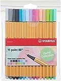 Fineliner - STABILO point 88 Pastel - 15er Pack - mit 15 verschiedenen Farben