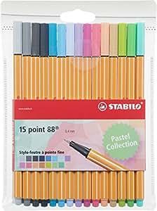 STABILO point 88 - Pochette de 15 stylos-feutres pointe fine - Couleurs pastel