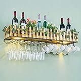 Wand-Weinregal Multifunktions-Rack Bar Wohnzimmer umgedreht Getränkehalter Hängelampe Massivholz Lagerregal M+ (Farbe : Wall-Mounted, größe : 60x20cm)