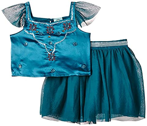 Uttam Kids Girl's 2 Piece Party Set Skirt, Green (Teal), 4 Years (Manufacturer Size:3-4 Years)