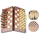 Juego de Ajedrez Magnético 3 en 1 Damas Backgammon Dados Tablero de...