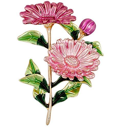 Yazilind Exquisite Daisy Blume entwickelt Brosche Clip Strass Brosche Hochzeit Prom Pin für Frauen Vintage Kleidung Dekoration Legierung Schmuck (Pink)