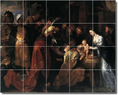 PETER RUBENS RELIGIOSA BAñO AZULEJO MURAL CON 17 X 53 98 CM 2  (20) 4 25 X 4 25 AZULEJOS DE CERAMICA