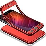 HICASER Redmi Note 4X 360 Grados Cuerpo Completo Protección + Cristal Templado, Soft TPU Case Antideslizante Carcasa para Xiaomi Redmi Note 4X Rojo