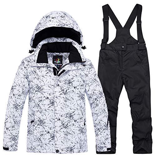 LPATTERN Traje de Esquí para Niños/Niñas Chaqueta Acolchada + Pantalones de Nieve Impermeables para Deporte de Invierno, Blanco+Negro, 5-6 años/S