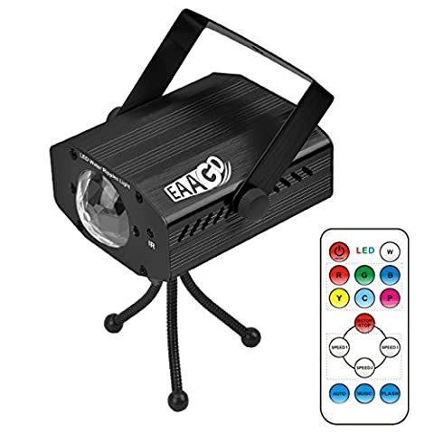 EAAGD Party Strobe Lights, 7 Color Ocean Wave Projector Stage Halloween Christmas Rgb Led Par Light Lighting with Remote for DJ Bar Karaoke Xmas Wedding Flame Effects