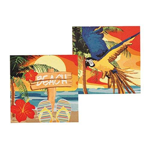 erparty - 33 x 33 cm - 12 Stk. Servietten Beachparty Tischdekoration Sommerfest Einwegservietten Mottoparty Hawaii Dekoration Karibik Bar Südsee 12 Stk. Servietten Beachparty (Hawaii Tischdekoration)
