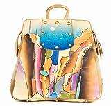 Zimbelmann Lesley Damen Rucksack-Handtasche aus echtem Nappa-Leder - handbemalt