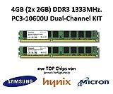 4GB (2x 2GB) Dual-Channel KIT DDR3 1333Mhz PC3-10600U 240 Pin 2Rx8 CL9 Non-ECC 1,5V PC Arbeitsspeicher Memory