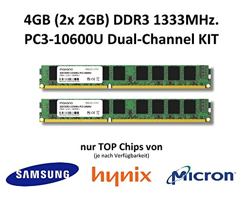 Cl9 Dual Channel (4GB (2x 2GB) Dual-Channel KIT DDR3 1333Mhz PC3-10600U 240 Pin 2Rx8 CL9 Non-ECC 1,5V PC Arbeitsspeicher Memory)