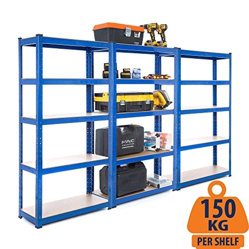Heavy Duty Garage Regale (Racking-Lösungen 3x Bays 1.5m 5-Tier-Garage Regale Rack-Dienstprogramm Heavy Duty Industrial Steel & MDF Boltless Rack-Regal - Massive 2,625 kg Kapazität 150 cm H 75 cm B 30 cm D)