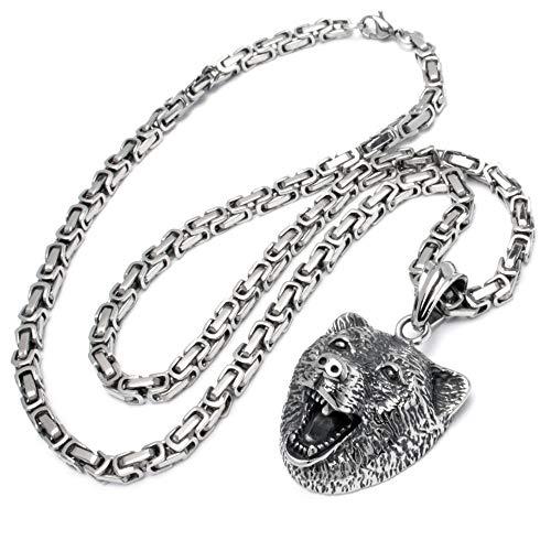 Schmuck-Checker Bär Anhänger aus Edelstahl mit Königskette silber Männer Halskette Bikerschmuck Balu Herrenschmuck Geschenk