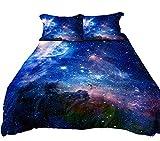 Anoleu Bettwäsche-Set für Jungen/Mädchen, digital Bedruckt, Blau / 100% Baumwolle, bequem, strapazierfähig, 3-teilig, Baumwolle, blau, Einzelbett