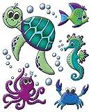 AVERY Zweckform 54994 Fensterbilder Meereswelt (10 Selbstklebende Fenstersticker, Fensteraufkleber und Deko für Fenster, Fensterfolie) mehrfarbig