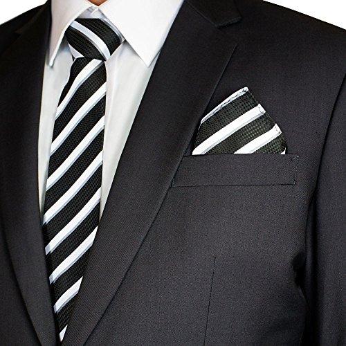 Soul Cats® SET: gemusterte Krawatte mit Einstecktuch + Anleitung Streifen Schlips Herren, Modell:Modell 2