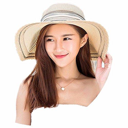 MS Sommer Hut Sonnencreme kann entlang der großen Hut gefaltet Strand Outing Yan Sonnenhut Bug. F 56-58 cm milchig-weiß