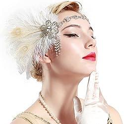 BABEYOND Años 20 Flapper Diadema de Plumas de Pavo Real Diadema Gatsby Vintage Cinta para el Pelo con Cuentas de Cristal Accesorios Vintage Disfraz Gran Gatsby Fiesta Temática Prom