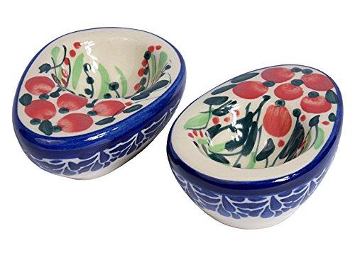 Traditionelle Polnische Keramik, Handgefertigte Keramik Eierbecher (Set von 2), Länge 85mm, P.202.CRANBERRY (Cranberry-geschirr-sets)