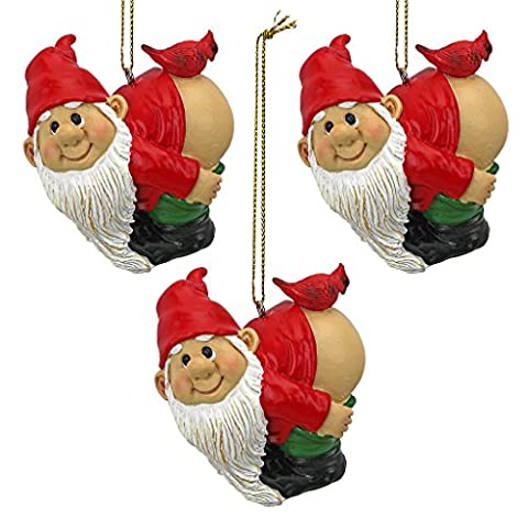 Design Toscano Set of Three Loonie Moonie Gnome Holiday Ornament, Multi-colour, 5x6.5x5 cm