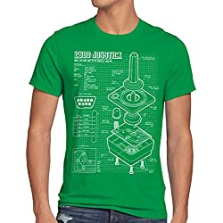 style3 2600 VCS Console Videogiochi Cianografica T-shirt da uomo joystick retrogaming, Dimensione:2XL;Colore:verde