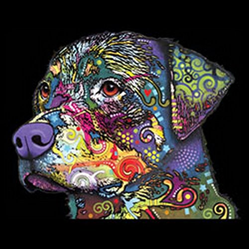 T-Shirt mit buntem Hunde Motiv - Rottweiler - Hundebild - Geschenk für alle Tierliebhaber und Hundefans - schwarz Schwarz