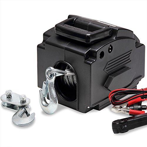 Treuil électrique 12V Câble de tension Charge max 907 kg avec Crochets Manivelle